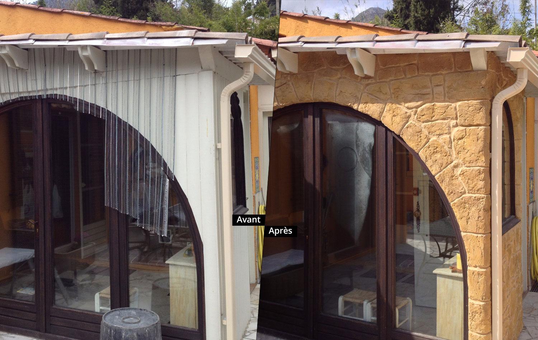 r novation fa ade maison par azur pro renov r novation fa ade et mur imitation fausse pierre. Black Bedroom Furniture Sets. Home Design Ideas